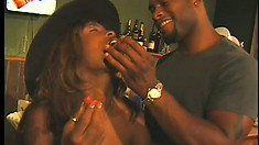 Buxom ebony girl explores her lesbian desires before getting fucked by a black guy