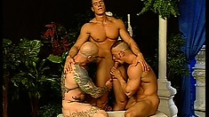 Ripped hunk gets his pink butthole drilled in a hot gay threesome