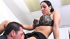 Veronica Rayne gets her pussy drilled and her mouth filled with jizz
