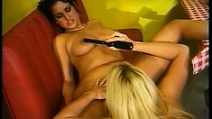 Kinky lesbians forgo dinner to have dessert first with warm pussy