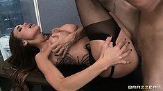 Sexy brunette MILF gets licked and fucked an avoids a harassment complaint