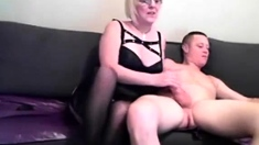 Amateur Handjob Mature Eagerly Wanking Off Young Dude