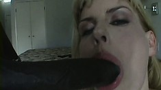 Sensual blonde mom with nice tits fucks a black cock for the first time