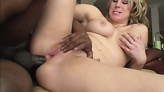 Curvy blonde fingers her pussy while a huge black rod deeply invades her anal hole