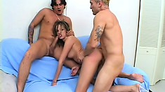 Petite Young Girl With Sexy Tits Gets Pounded Hard By Two Hung Studs