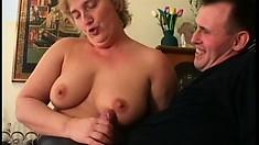 Chubby mature lady Szandra has Patrick's big cock hammering her pussy