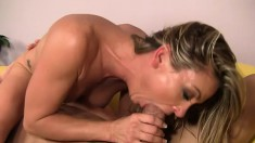 Amanda is a sexy MILF who sits on his face then sits on his cock