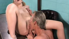 Tight blonde tart in pigtails gets fucked by her dirty doctor