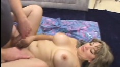 Blonde chubby MILF holds her breasts while she gets her cunt plowed