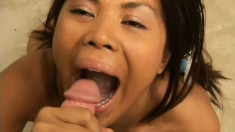 Skinny little Asian girl blows and gets fucked, then sucks out his jizz