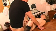 The naughty office slut will happily fuck any of her colleagues