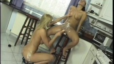 Stunning lesbians cover each other in whipped cream and lick it off