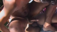 Gay twink has two studs fucking his ass and unloading on his face