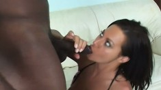 A big black cock explores every inch of this eager girl's asshole
