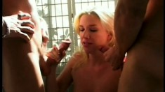 Smoking hot blonde slut takes it raw from a trio of big hard cocks