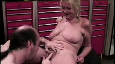 Experienced blonde gets real nasty on a lucky dude's hard cock