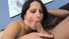 Skinny brunette with long hair welcomes her hubby after work